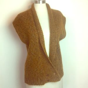 VTG 80s Awesome Brown /Blue Mohair Sweater Vest